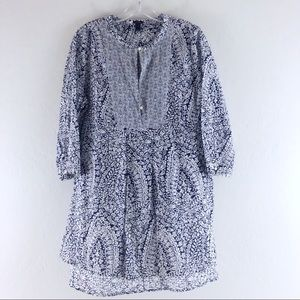 J Crew Top Floral Tunic Loose Cotton Blue Women M